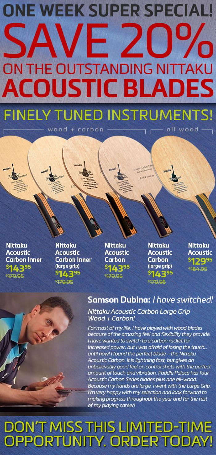 Nittaku Acoustic Blade Sale