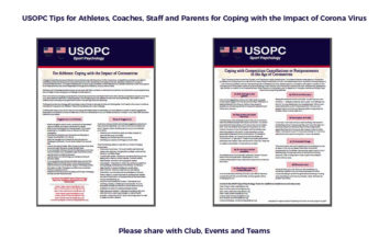Tips for Athletes, Coaches, Staff, and Parents During the Corona Virus Outbreak